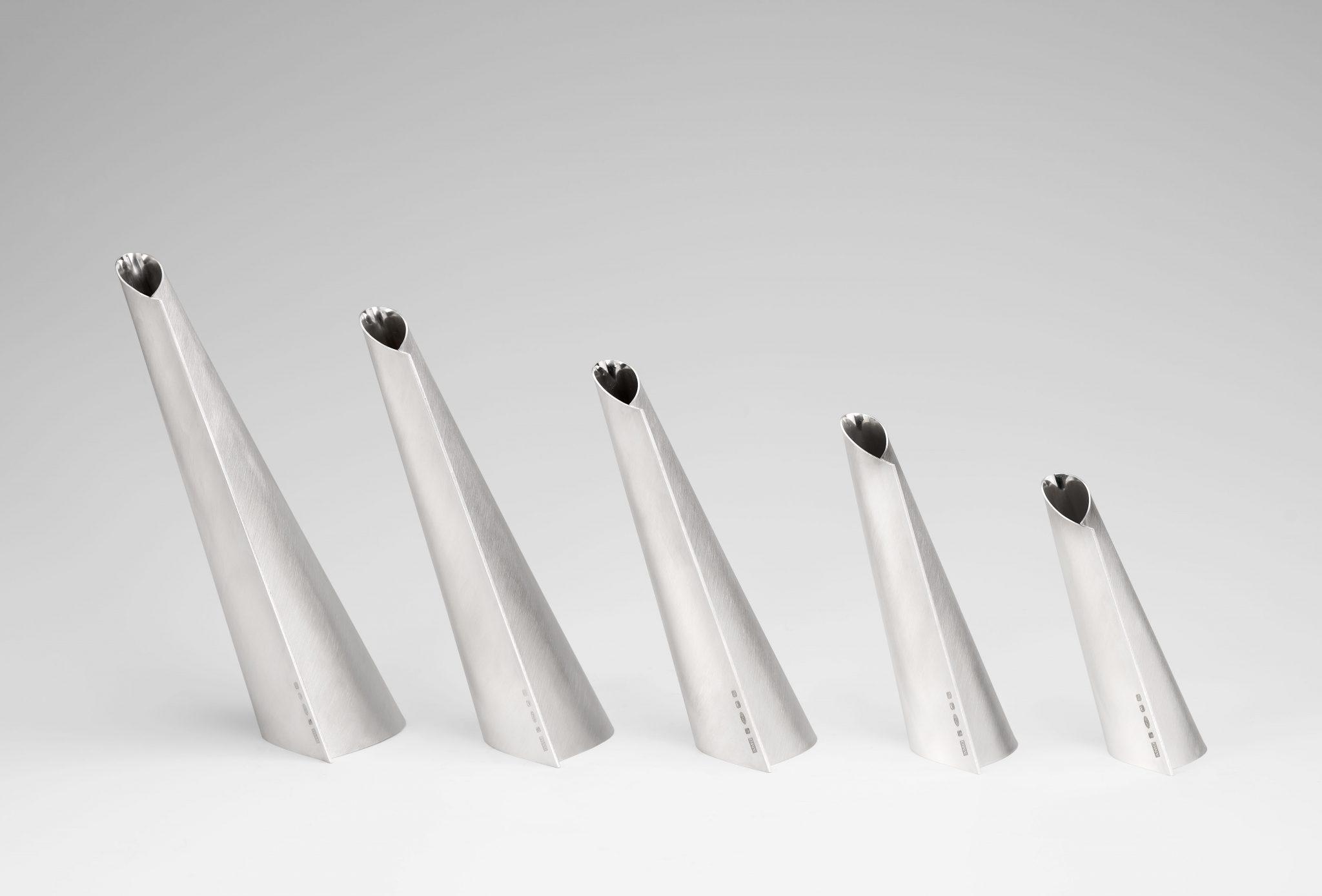 Veer series of five vessels, Britannia silver, 2017, 28cm x 40cm x 8cm