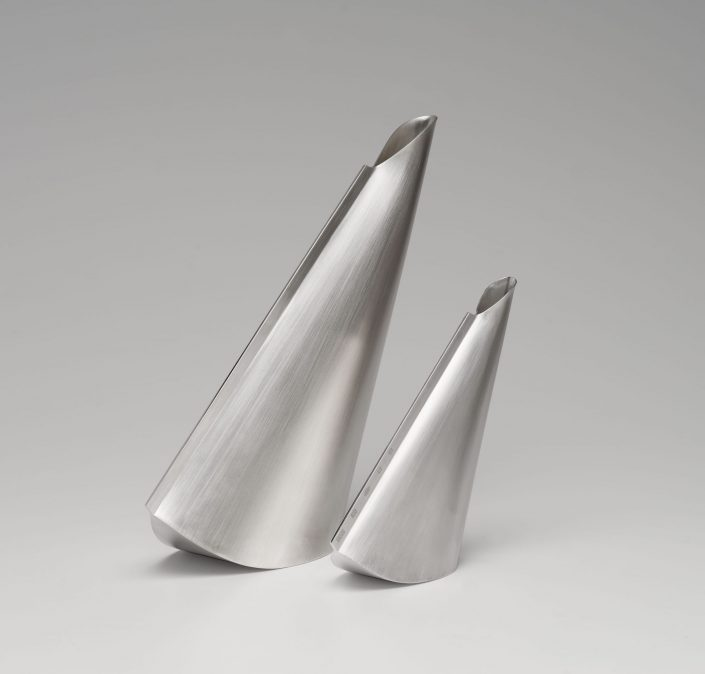 Veer pouring vessel and companion, Britannia and sterling silver, 2017, 28cm x 25cm x 20cm