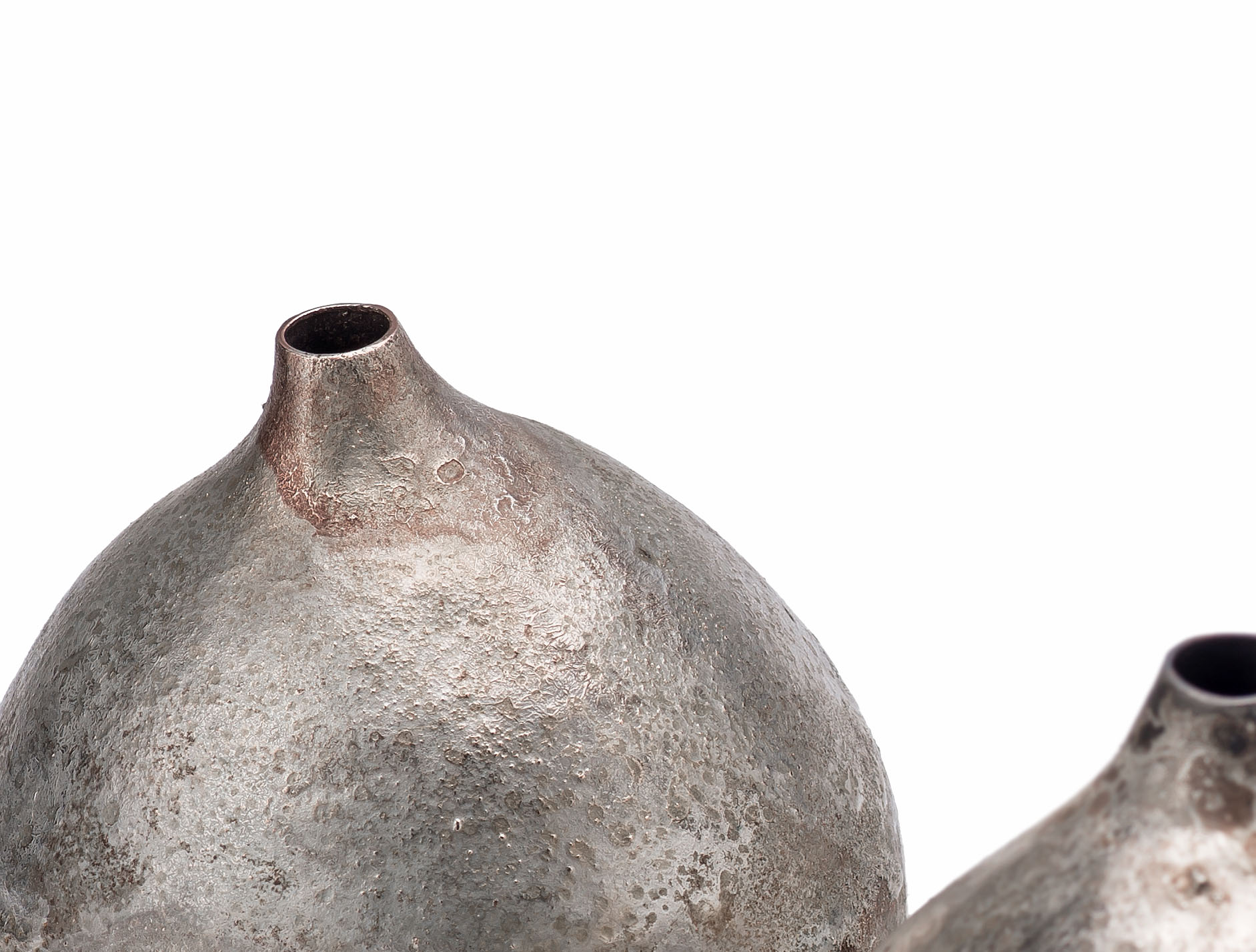 Fall vessels,(Detail), Copper, silver, 2016, Each vessel 9cm x 8cm x 8cm