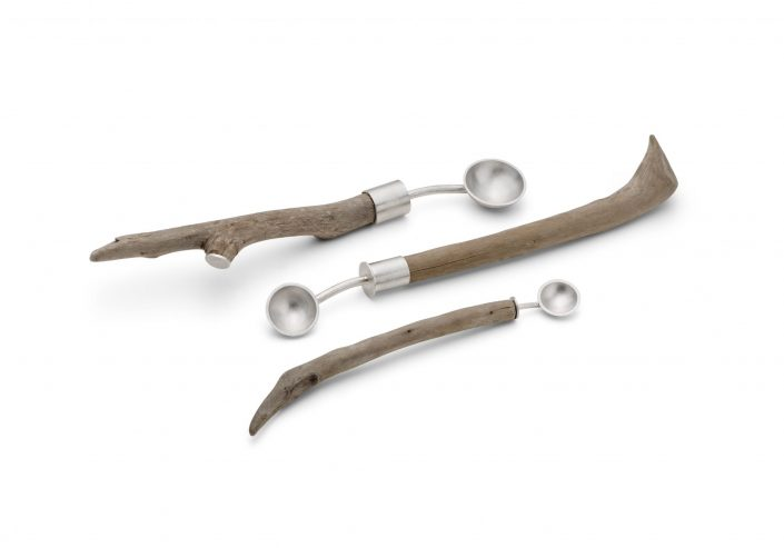 Strandline spoons, Sterling silver with driftwood handles 220mm-280mm | £210